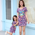 Family Clothing Girls Dress Short Mother Daughter Dresses Matching Mother Daughter Clothes 2017 New Cartoon Girls Dresses