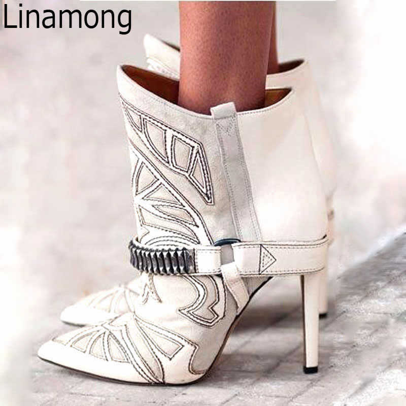 60e38ac02e Hot Embroidery Patchwork Suede Leather Pointed Toe Ankle Boots Metal Belt  Buckled Stilettos Lady Short Boots