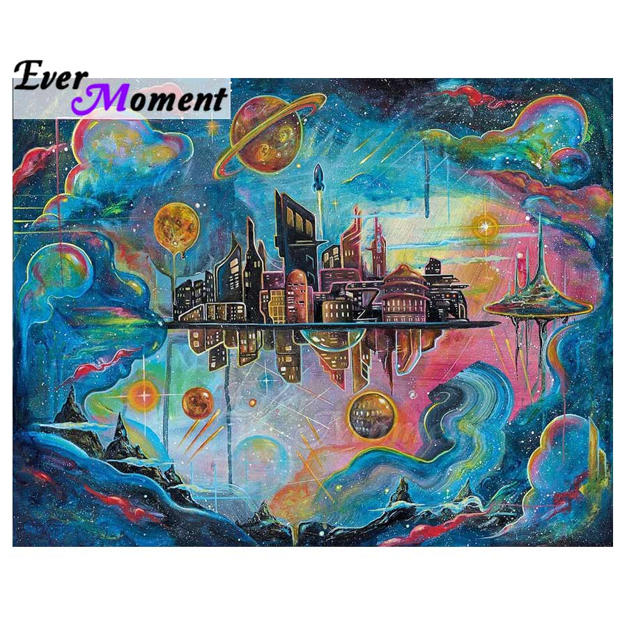 Ever Moment Diamond Painting Scenery City In The Universe Full Picture Of Rhinestone Diamond Embroidery Mosaic 5D DIY 3F295