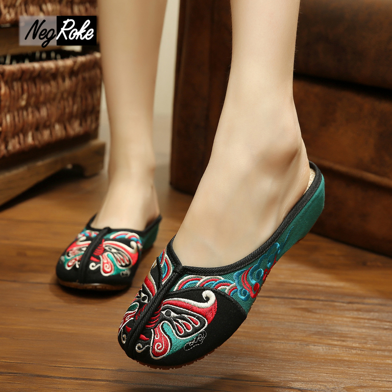 Summer Chinese style indoor home Slippers women Peking Opera embroidery sandals women Casual shoes mujer slides