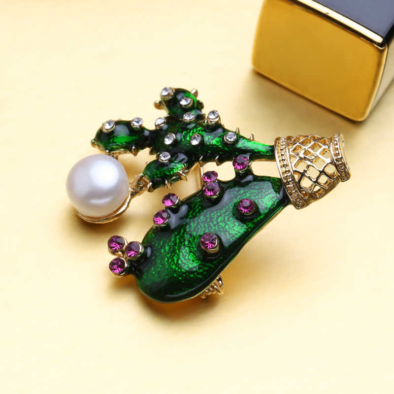FENASY Autumn Noble cactus Elegant Pearl Brooch Pins,bohemian Crown Brooch Set Natural Pearl Vintage Brooch Jewelry