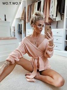 Knitted Sweaters Cardigans Women Oversized Lace-Up Off-Shoulder Streetwear Pink Cross-Winter