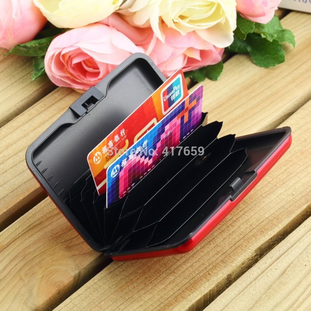 1 Pcs Waterproof Business ID Credit Card Holder Wallet Pocket Case Aluminum Metal Shiny Side Anti RFID scan Cover