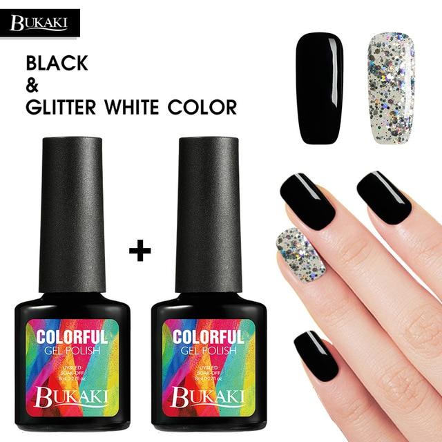 BUKAKI 1pcs 2pcs Black Color Glitter White Sequins UV Gel Nail Polish
