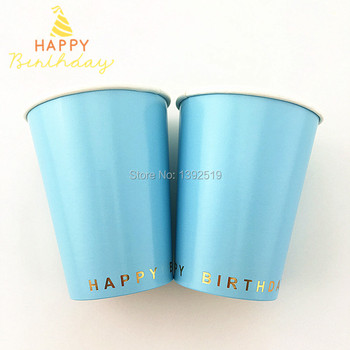Free Shipping!Plain Blue Paper Cups 120Pcs/Lot With Gold Happy Birthday Paper Drinking Cups For 1st Birthday Party Bayby Shower