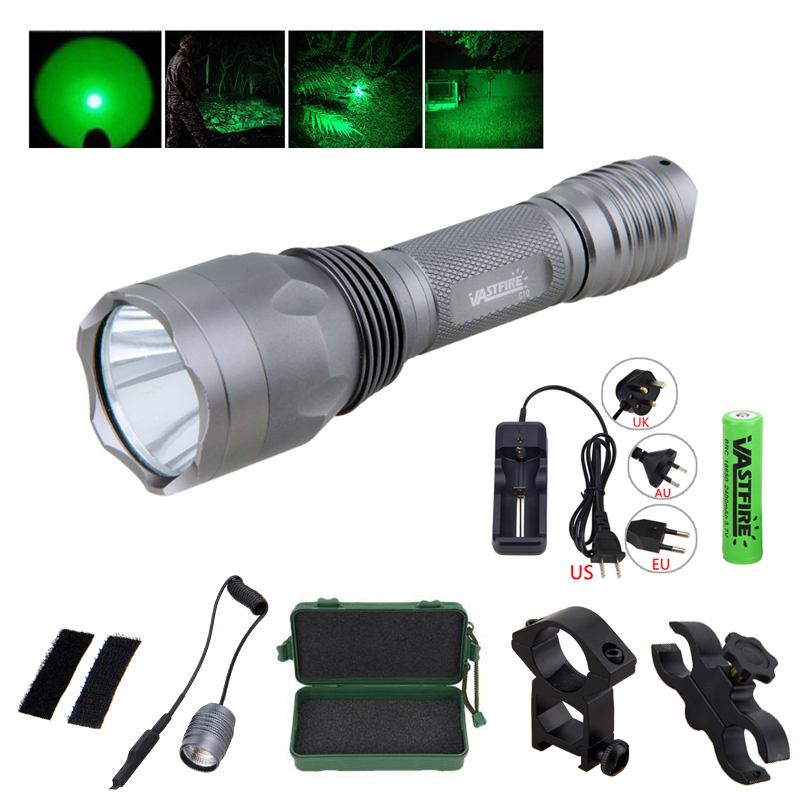 Green Hunting Light Set 350 Lumens Tactical Torch +Hunting Mount+18650 Battery Set+Box+Remote Pressure Switch