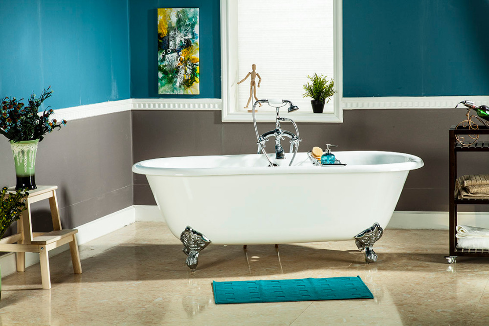 66 CUPC Approval Freestanding Luxury Indoor Bathtub Cast Iron Double Ended Tub 1001