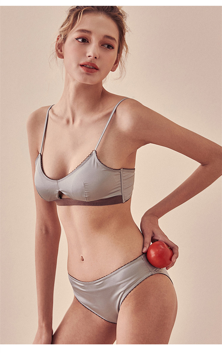 TERMEZY New Women Underwear Wire Free satin bra thin Triangle cups Bra and Panty Set Hollow Lingerie Women Brassiere Bralette  (7)