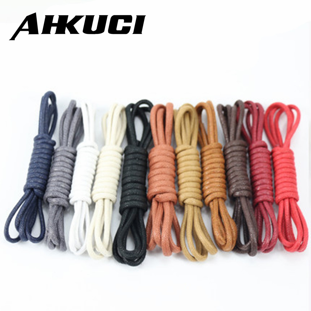 1 Pair Casual Leather Shoelaces Waxed Round shoe laces Shoestring Martin Boots Sport Shoes Cord Ropes 80/90/100/120cm 2.5cm high quality genuine leather square heels martin boots for women round toe platform winter rhinestone snow martin boots
