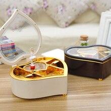 Cute Nice Heart Shape Dancing Ballerina Music Box Girls Carousel Hand Crank Music Box Wooden Mechanical Musical Box For New Gift