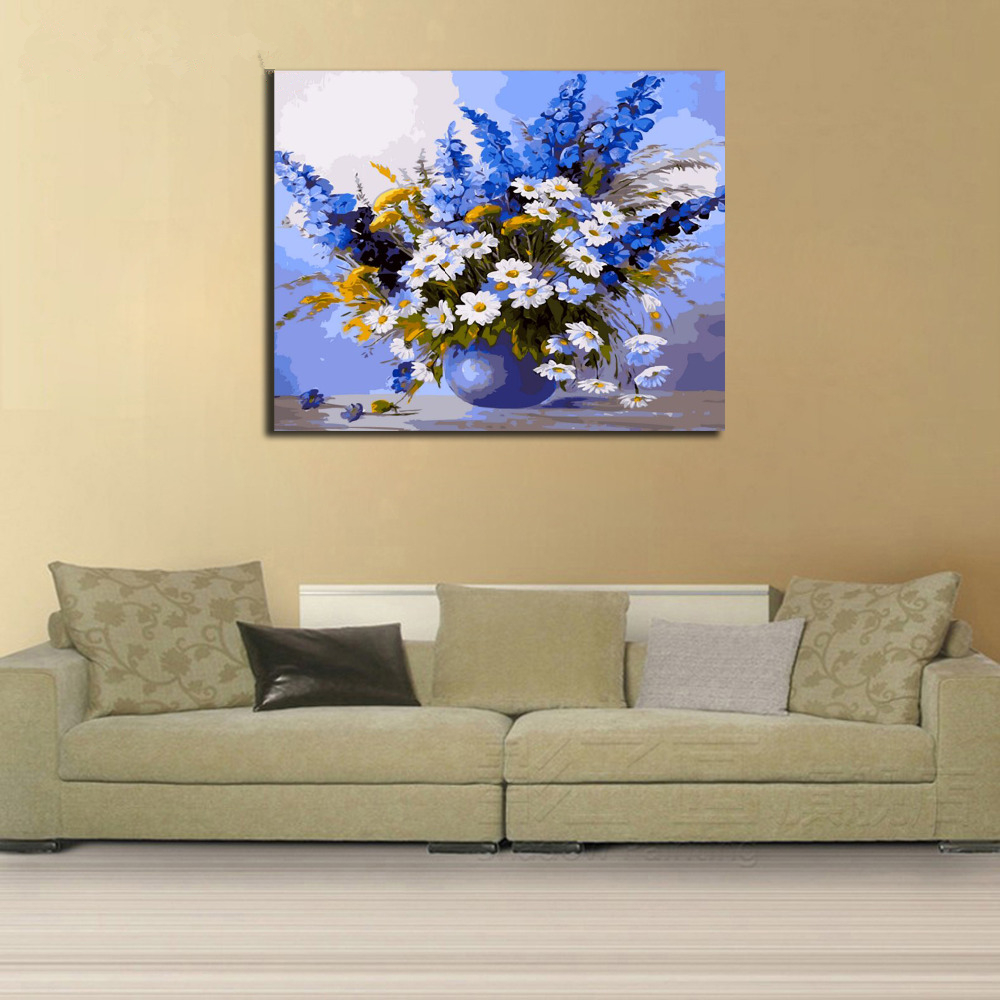 Framed White Flower DIY Painting By Numbers Modern Wall Art Picture ...