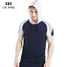 LIEXING New Arrival GYM Shirt Man Hoodie Sport shirt Fitness Slim High Breathable Quick Dry Running Mens Tee Tops with Drawcord