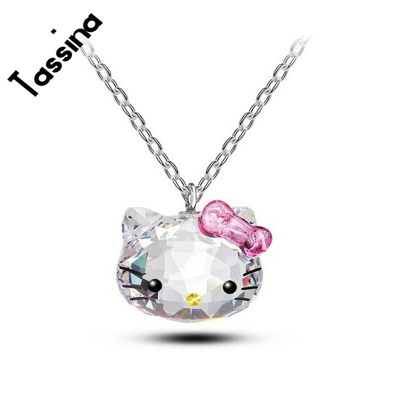 Tassina Argent couleur Corée KT Cristal Mignon bonjour kitty arc Chat Colliers Pendentifs Bijoux De Mode pour les femmes TAML001 neckless