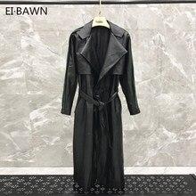 Leather Jacket Wind Breaker for Women Outwear Long Sleeve Sheepskin Genuine Coats Autumn Plus Size