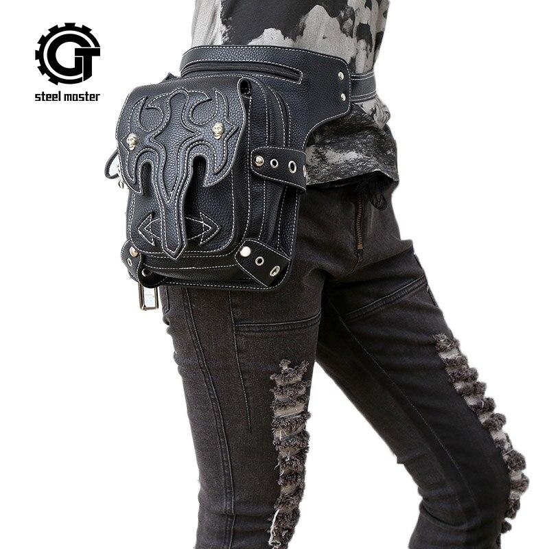 Steampunk Waist Bag MenWomen Messenger Shoulder Bag Female Casual Black Leather Cool Leg Bag 2017