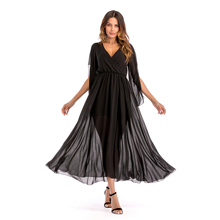 VZFF Deep V-neck Casual Stitching Solid Women Color Chiffon Big Swing Maxi Dress Modern Lady Dresses