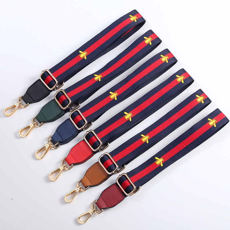 Women Bags Belt Strap You Shoulder Bag Strap Wide Stripe Nylon Crossbody Bag Belt Accessory Parts Bee Icon Bag Handles KZ151364 imido 64cm leather handbag belt bag short strap wide shoulder bag strap replacement flower accessory parts brand design stp035