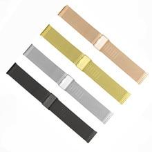 New Lug Width 8 10 12 14 16 18 20 22 24 mm Rose Gold Stainless Steel Mesh Watch Band Bracelet Strap 0.8 Wire Mesh все цены