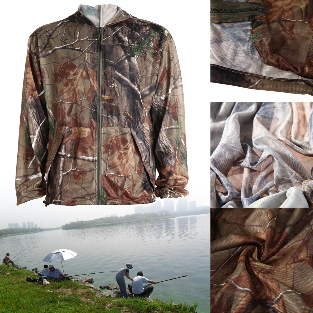 Sun Protection Hooded Long Sleeve T-shirt Cotten Blend Breathable Bionic Camouflage Anti-Mosquito Outdoor Fishing Clothing