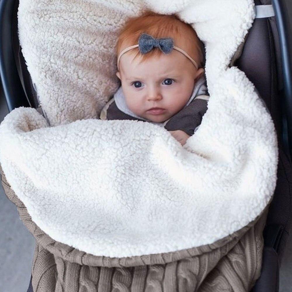 Thick Baby Swaddle Wrap Knit Newborn Sleeping Bag Warm Swaddling Blanket Sleep Sack Thick Warm Blanket  Stroller Cover