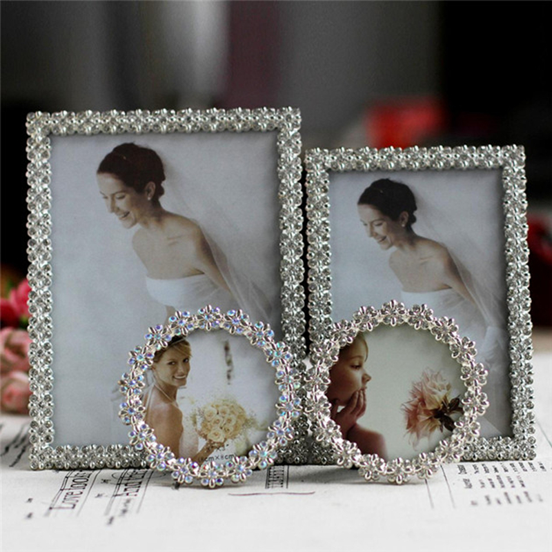 6inch 3 Colorful Rhinestone Wedding Photo Frame Crystal Metal Alloy Bridal Baby Picture Frames