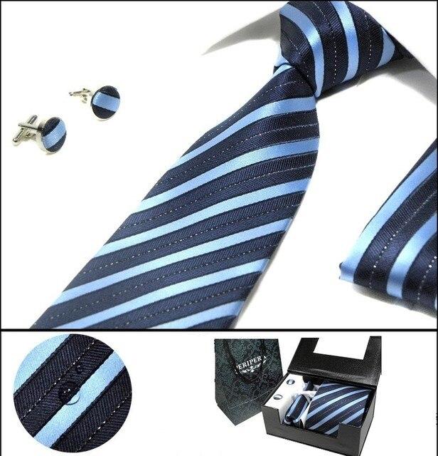 Мужчин 8.5 см галстук комплект карманный площадь рукавами водонепроницаемый шуры галстуки и платок комплект галстук запонки коробку подарок