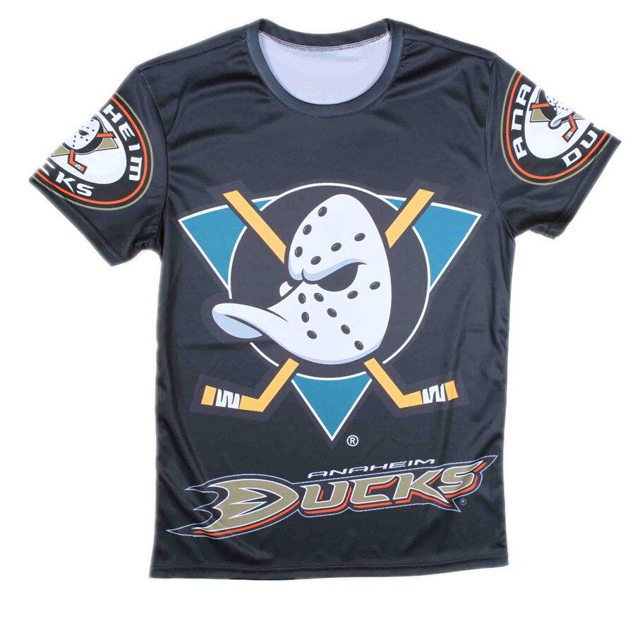 ed5672b425d23 2015 Buena Venta Anaheim Ducks Camiseta Patrón de Verano Negro de Manga  Corta de Los Hombres Divertidos Camisetas de Impresión en Camisetas de La  ropa de ...
