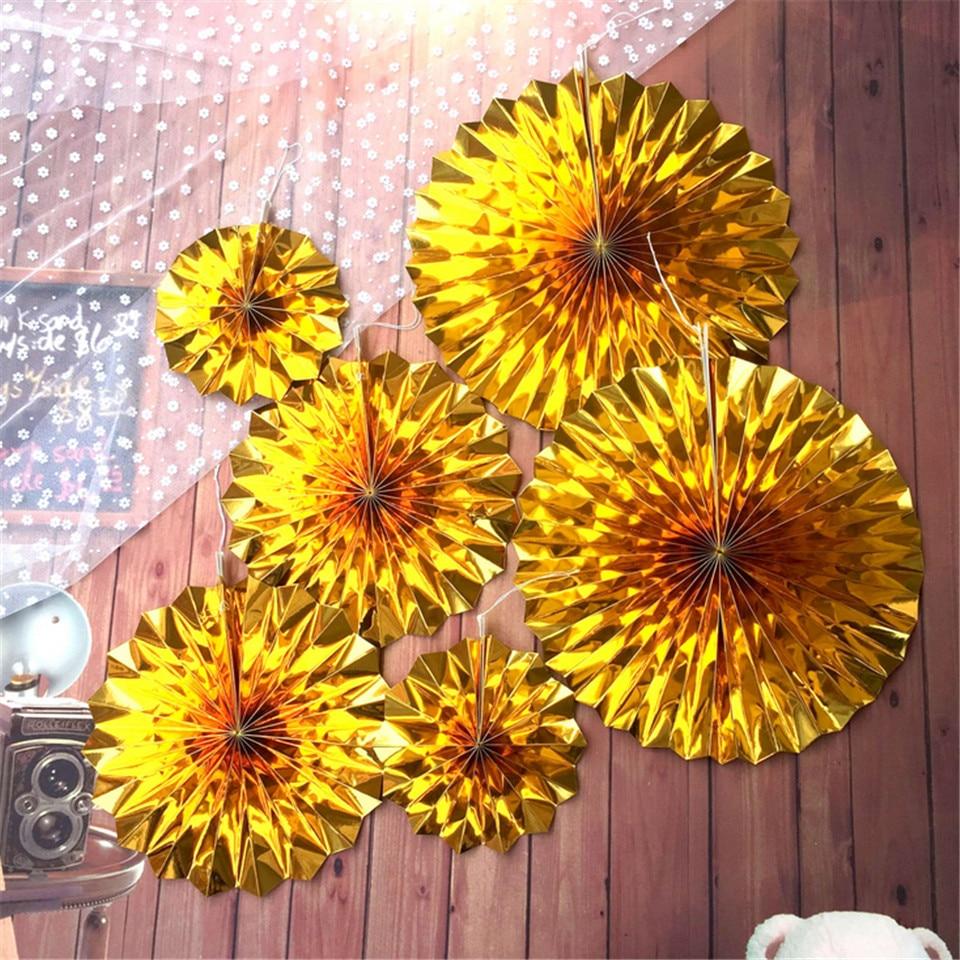 6pcsset Hot Selling Gold Silver Paper Flower Folding Fan Paper