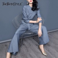 TWOTWINSTYLE Pants Suit For Women OL Stand Collar Shirt With Lace Up High Waist Long Wide