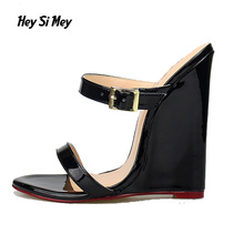 HSM Double Strap High Heels Sandals Wedges Women Shoes Large Size 11 12 13 14 10.5 Designer Brand 2017 Summer Sandals