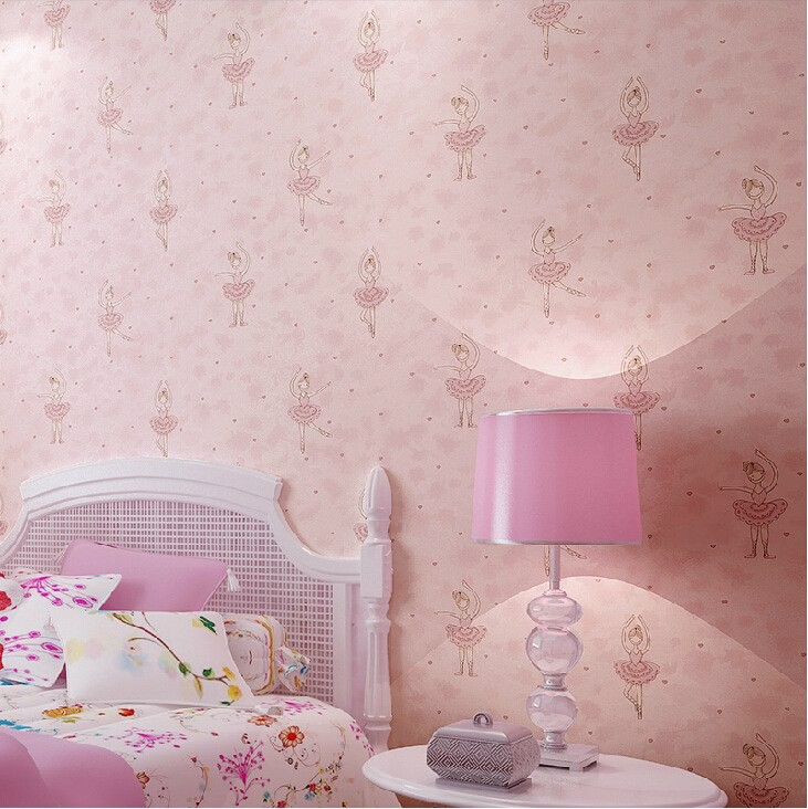 Child room wall paper cartoon princess real ballet girl pink wallcoverings super-fibre eco-friendly non-woven wallpaper beibehang wall paper pune girl room cartoon children s room bedroom shop for environmental non woven wallpaper ocean mermaid