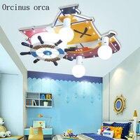 Мультфильм креативная светодио дный лодка светодиодный потолочный светильник мальчик спальня детская комната лампа Средиземноморский пи