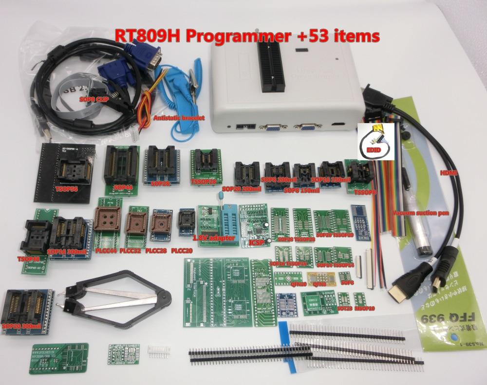100 Original RT809H EMMC Nand FLASH Programmer 55 Items with BGA48 BGA63 BGA64 BGA169 Adapter RT809H