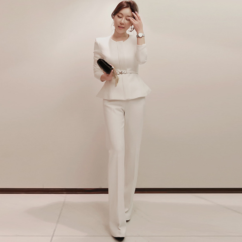 2019 Autumn New Full Sleeve Work Suits Women Casual Zipper Coat Outer High Waist Wide Leg Long Pant Office Two Pieces Sets
