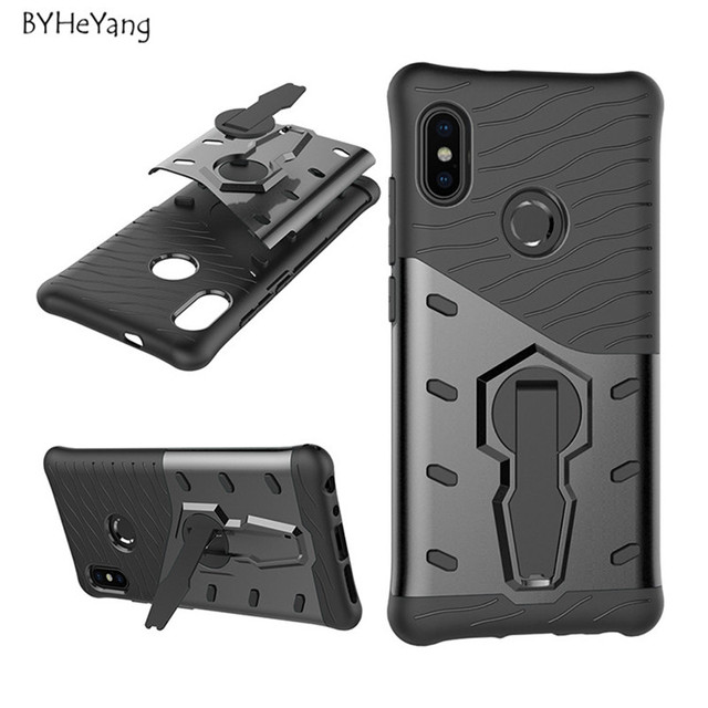 huge discount c6fd3 c4caa US $2.87 6% OFF|BYHeYang For Redmi Note 5 Case 64GB Shockproof Rugged Armor  Case 360 Stand Cover for Xiaomi Redmi Note 5 Pro Global 5.99inch-in Fitted  ...