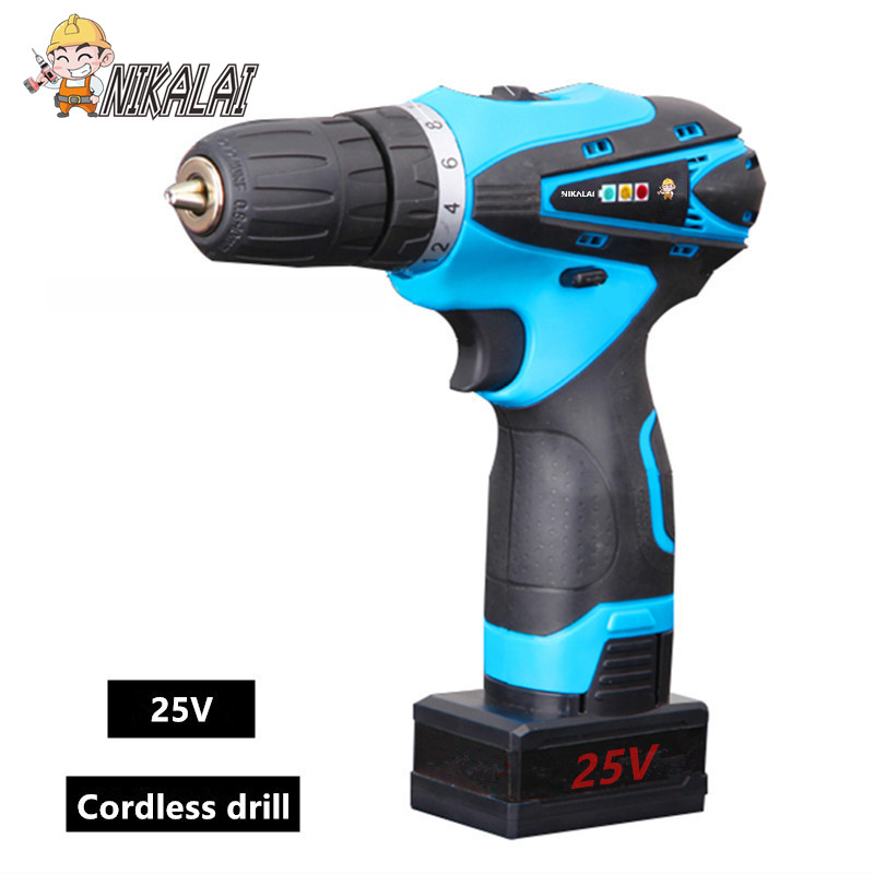 25v charge Lithium Battery Rechargeable household Cordless Electric Drill bit hammer Wrench Electric Screwdriver hand Power Tool