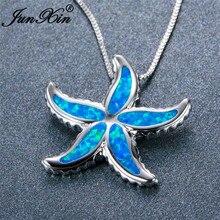 Бренд junxin, милый 925 пробы, наполненный серебром, животное, чокер, мистик, Синий огненный опал, морская звезда, подвески, ожерелья для женщин, подарок для влюбленных