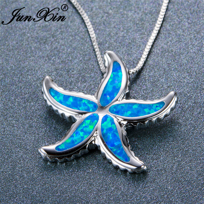 Necklaces & Pendants Blaike Cute Dolphin Tail Pendants Necklaces For Women 925 Sterling Silver Filled Blue/ Rainbow White Fire Opal Wave Necklace