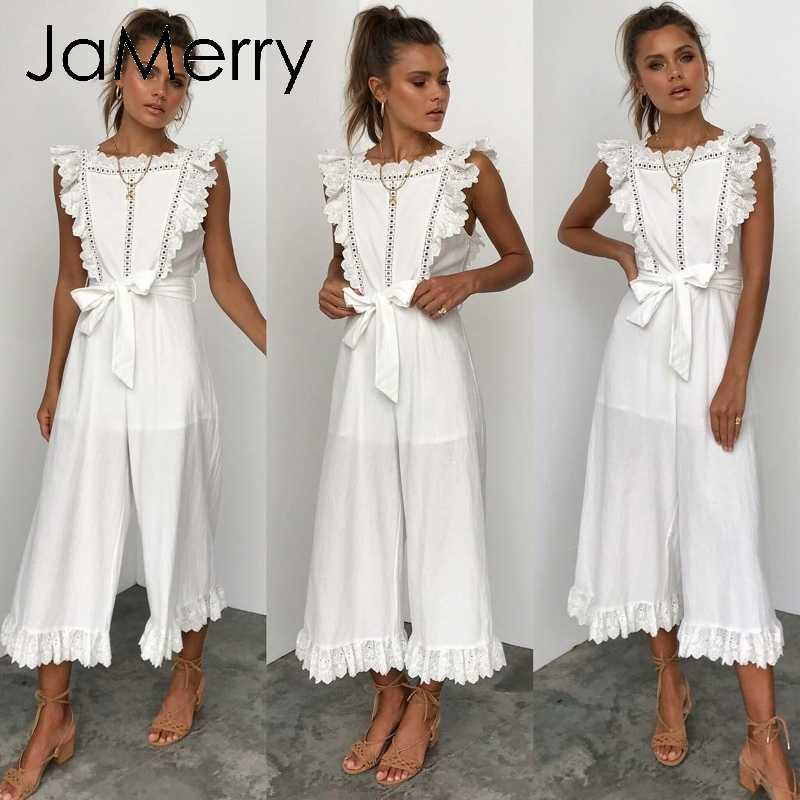 JaMerry Vintage cotton linen ruffled embroidery women jumpsuit Elegant hollow out sashes long jumpsuit romper Casual overalls