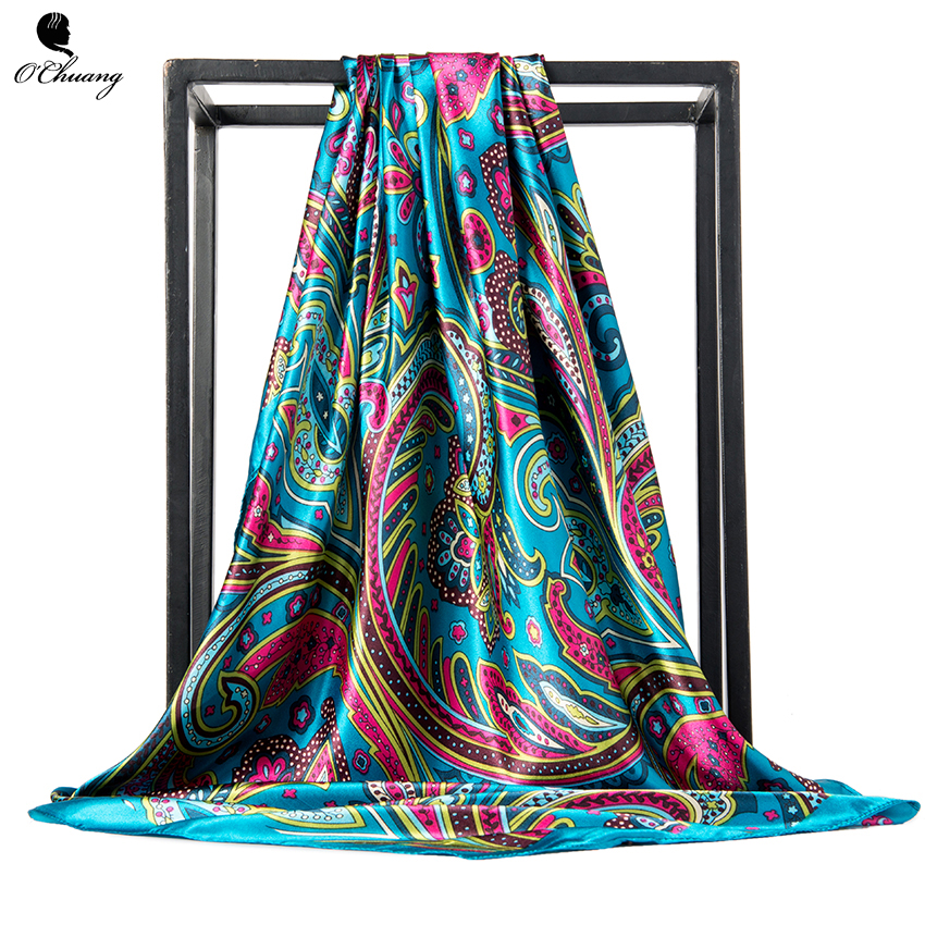 O CHUANG Fashion Women Scarf Luxury Brand <font><b>foulard</b></font> Satin Scarfs Big Size Hair Square Scarves For ladies headband <font><b>90</b></font>*90cm image
