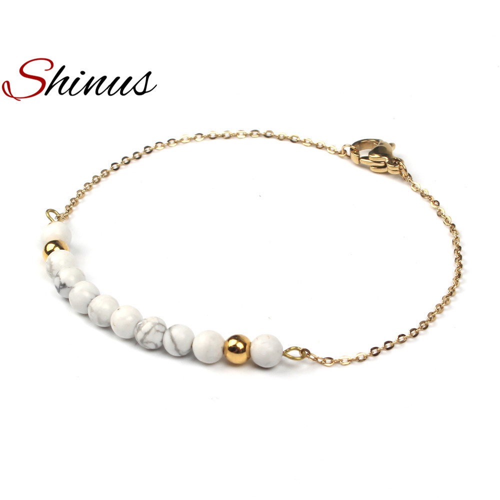 Shinus Bracelets Women Jewelry Bracelet Womens Chakra Natural Stone Beads Handmade Stainless Steel Gold Color Link Chain Fashion