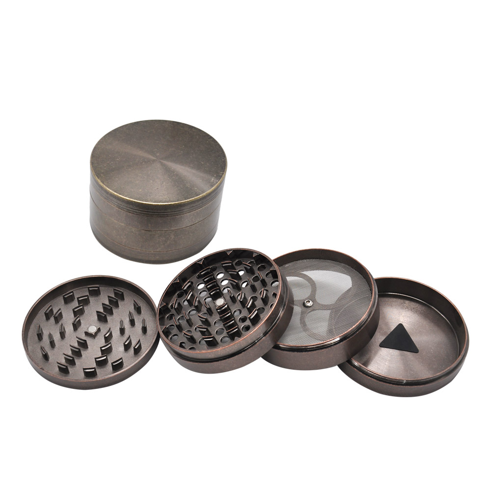 Hard Heavy Plated Copper Zinc Alloy herb Grinder Dia 100MM 3 94 4Layers Tobacco Grinder Crusher