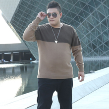 Фотография 2017 New Winter Brand Clothing Patchwork Mens Plus Size Sweater O-Neck Fashion Loose Fat Pullover Men Knitted Sweater Oversize