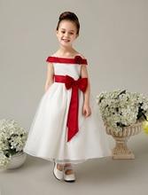 -Линии атласная и тюль кот свадебный цветок девочки Платья маленькие девочки платья элегантный дети девушки вечерние платья с sash