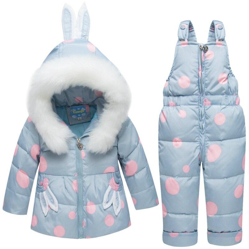 Bébé filles tenues neige porter combinaison Hoodies veste enfant en bas âge manteau d'hiver enfants Snowsuit dessin animé lapin veste duvet de canard
