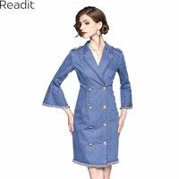 Readit Denim Dress 2017 Autumn Woman Dress Light Blue Dress Double Breasted Flute Sleeve Knee Pencil