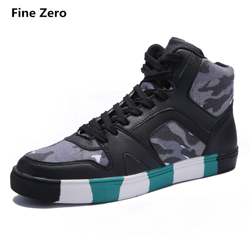 Fine Zero Male Autumn Spring High Top Mens Camouflage Shoes Casual Flats Classic Men's Lace-up High Top Comfortable Youth Botas youth trend mens casual shoes for men lace up fashion spring autumn flats outdoor shoes high quality comfortable shoes xxz5