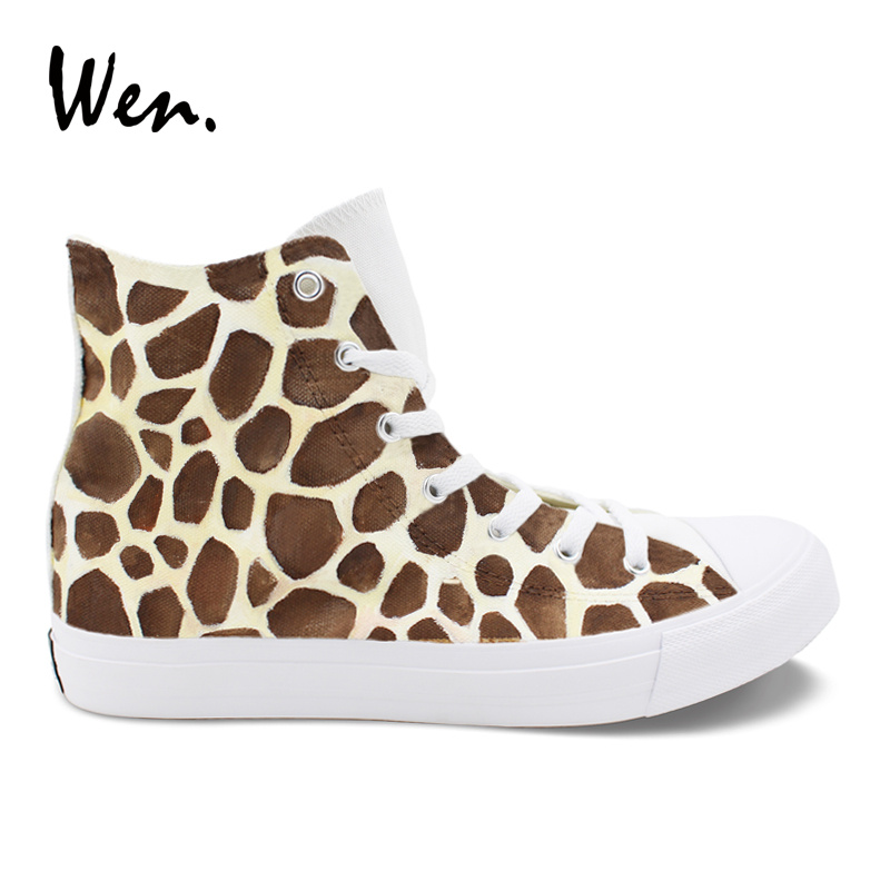 Wen Hand Painted Sneakers Cute Giraffe High Top Design White Canvas Women Shoes Casual Men Shoes Flattie Soled Outdoors wen giraffe canvas shoes classic white hand painted animal sneakers sports high top skateboarding shoes for man woman