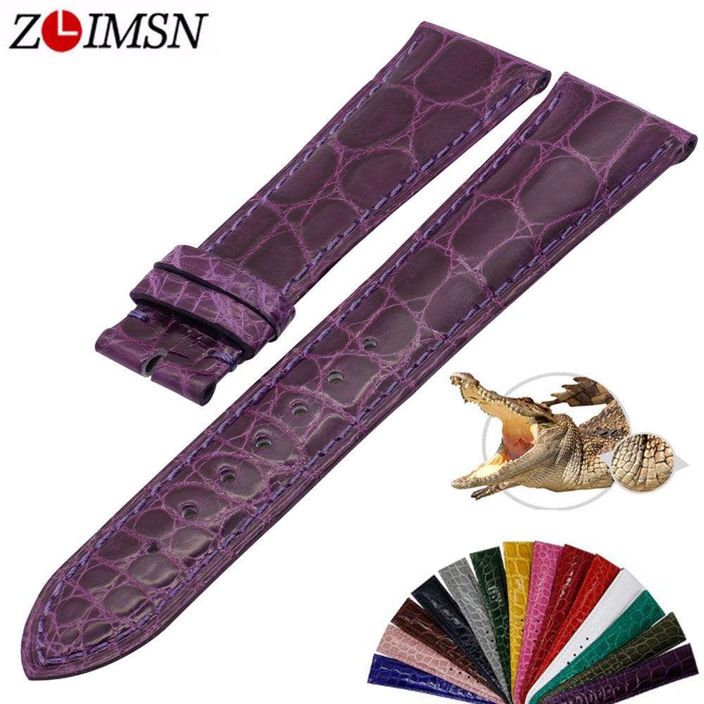 ZLIMSN Simple Fashion Genuine Alligator Strap 15 Colors Round Pattern Comfortable For Men s Women Leather