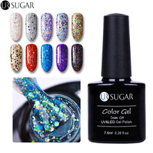 UR SUGAR 7.5ml Soak Off UV Holographic Diamond Gel Polish Laser Sequins Varnish Gel Shining Colorful Manicure Nail Art Lacquer
